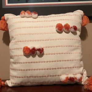 Clay Pompom Throw Pillow